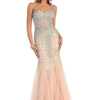 Prom Long Strapless Sweetheart Beaded Rhinestones Sequins Mesh Mermaid Dress