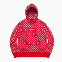 Supreme Fashion Embroidered tea green hooded sweater