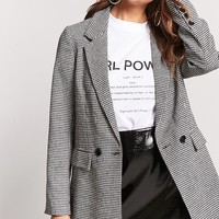 Oversized Double-Breasted Houndstooth Blazer