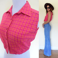 Vintage reproduction 60's plaid cotton pink sleeveless button up cropped skirt