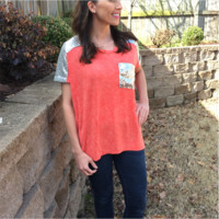 Sequin Blouse in Coral