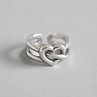 S925 Sterling Silver Vintage Style Loving Heart Adjustable Ring Minimalist Jewelry