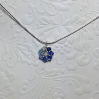 Blue Crystal Necklace, Ombre Necklave, Swarovski Crystal Necklace, Sterling Silver Necklace, September Birthstone Necklace,