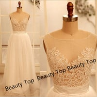2014 Lace Tulle Wedding Dress Prom Ball Gown Tulle Lace Dress Graduation Gress Lace Prom Dress Lace Bridesmaid Dress