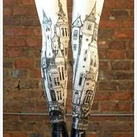 Victorian City Leggings - Womens Off White Legging tights - MEDIUM