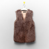 Fur Vest Button Coat