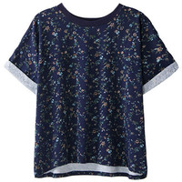 ROMWE Floral Print Rolled Cuffs Blue T-shirt