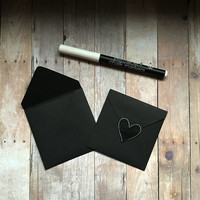 """Set of  5 square chalkboard note cards.- Small 3"""" blank black notecards with black envelopes. Chalk marker & heart stickers included"""