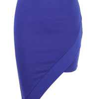 Blue Asymetric Skirt In A Ponti Fabric at Fashion Union