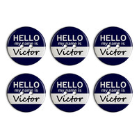 Victor Hello My Name Is Plastic Resin Button Set of 6