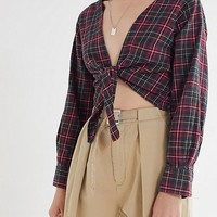 Urban Renewal Remade Plunging Flannel Cropped Top | Urban Outfitters
