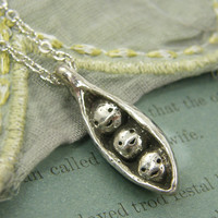Pea in Pod Necklace Antique Silver Pewter Pendant Necklace