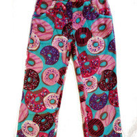 Candy Pink Girl's Super Soft Fleece Pants Turquoise Donut