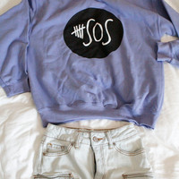 5 Seconds Of Summer Logo Pull Over Sweater Purple