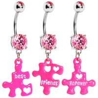 Pink Gem Triple Puzzle Piece Best Friends Forever Belly Ring Set   Body Candy Body Jewelry