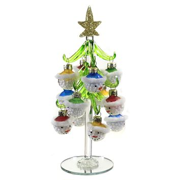 Christmas Tree With Snowman Ornaments Gold Star - EX20538