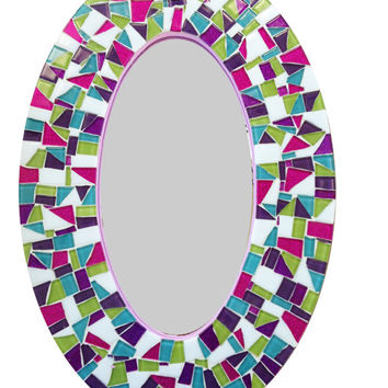 Mosaic Wall Mirror, Oval Decorative Mirror, Pink Purple Lime Green Teal, Kids Room, Teen Decor, Mosaic