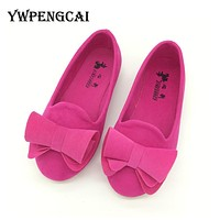 Big Bowtie Solid Colors Girls Flat Shoes Spring Size 21-36 Kids Princess Single Shoes Soft Sole Toddler Baby Girl Shoes