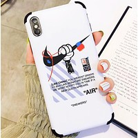 NIKE New fashion letter hook print couple protective cover phone case White