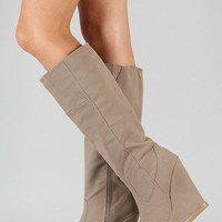 Qupid Parlane-08 Almond Toe Knee High Wedge Boot