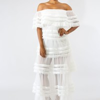 Sheer Tulle Maxi Dress - White