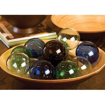Set Of 6 Recycled Glass Balls - Amber