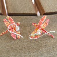 Origami Dragonfly Earrings, Dragonfly Jewelry, Orange Dragonfly Earrings, Orange Earrings, Cute Earrings, Orange Jewelry, Orange Dangle