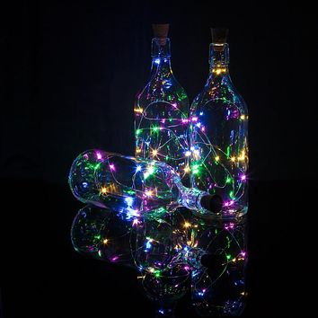3 Pack | 15 Super Bright RGB LED Battery Operated Wine Bottle lights With Real Cork DIY Fairy String Light For Home Wedding Party Decoration