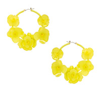 Oscar de la Renta Flower Garden Hoop Earrings in Citron | FWRD
