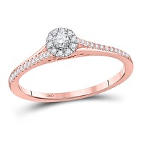 10k Rose Gold Round Diamond Solitaire Bridal Engagement Ring 1/5 Cttw