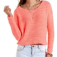 Popcorn Knit Cropped Pullover Sweater - Fiery Coral