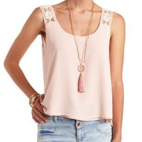 Crochet Strap Layered Swing Tank Top by Charlotte Russe - Pearl Blush