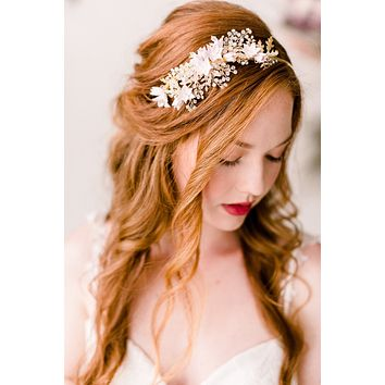 Cherry blossom golden headband - style 4011- Ready to ship