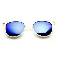 Retro P3 Horned Rim Frame Mirrored Lens Sunglasses 8829