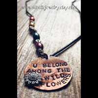 """Handstamped music lyrics """"u belong among the wildflowers"""" necklace / Tom Petty music lyric jewelry / flower necklaces / beaded long necklace"""