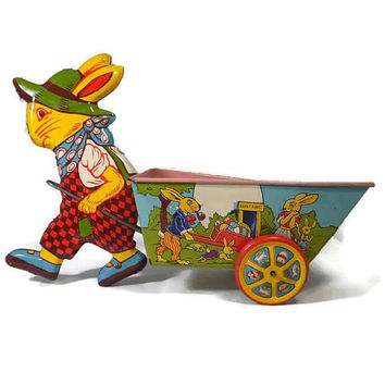 Tin Toy Bunny with Cart -1950s J Chein toy, Rabbit Pulling Cart, Easter Collectible, Peter Rabbit, Made in USA, Tin Lithograph