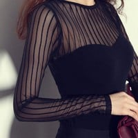 Lace Sexy Stripes See Through Cotton Long Sleeve T-shirts Bottoming Shirt [10402243596]