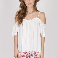 Hudson Crochet Trim Top