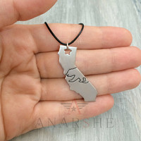 California state brushed silver necklace, california state outline silver necklace, california bear necklace, gift for man, christmas gift