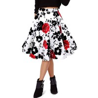 Vintage Style High-Waisted Floral Print A-Line Skirt For Women