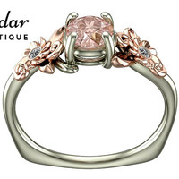 Flower Engagement Ring,Unique Engagement Ring,Rose Gold Ring By Vidar Botique,Morganite Engagement Ring,Leaves Ring,Vintage Ring,Flower Ring