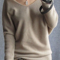 Bat Sleeve V-Neck Knitted Sweater