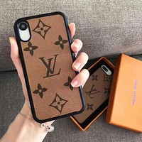 Louis Vuitton LV Fashion New Monogram Print Leather Women Men Phone Case Protective Cover