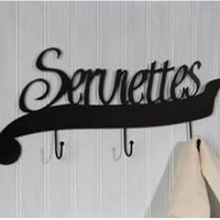 Serviettes French Wall Towel Rack - 3 Hooks - 16-in