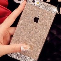 Appmax® Ultrathin Glitter Bling Anti-shock Silicone Gel Case Flexible Shiny Sparkling Premium Soft Back Case Cover Protector with Crystal Rhinestone for Iphone 5 / Iphone 5s -Gold