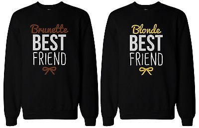 Image of Cute Brunette and Blonde Best Friend Matching BFF Pullover Sweaters