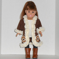 American Girl Doll Clothes Brown Fleece Coat with Beige Fringe