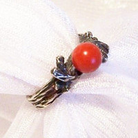 Coral Reef Sterling Silver Ring: Vintage Red Coral - Size 5 - L2007
