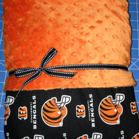 NFL Cotton Broadcloth Cincinnati Bengals Helmets Orange/Black on Orange Minky Dot Blanket- Baby, Toddler, Child or Adult Size