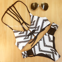 New Fashion Women Sexy Retro Print Bandage Brazilian Push Up Bikini Set Swimwear Swimsuit Beach Bathing Suit Size S,M,L